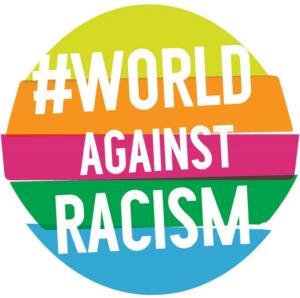 Regenbogenlogo mit der Aufschrift # world against racism